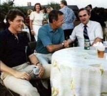Future Presidents Bill Clinton And George Bush with Governor George Wallace at a BBQ in 1983