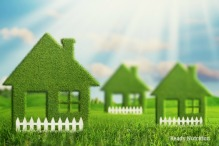 Green Eco village, abstract environmental backgrounds