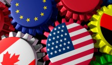 Global world economy machine with China and Europe  in the center represented by gears and cogs with the countries flags of Greece Russia U.S.A. Canada Germany Brazil and Britain representing international trade and world imports and exporting industry.