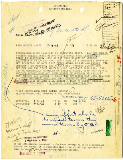 Based on FBI Documents & DNA Analysis, Hitler Escaped to Argentina Where He lived Out His Life Until Old Age Germansubmarinesinargentina-1945